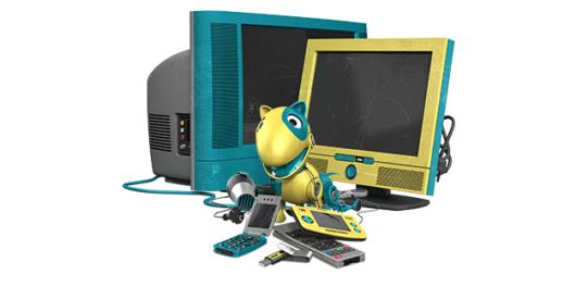 TV-apparat, leksaker, mobiltelefoner