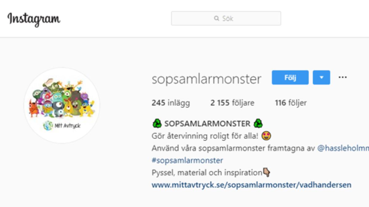 Kika in på sopsamlarmonstrens Instagramkonto