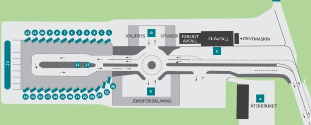Översiktskarta för återvinningscentralen i Helsingborg