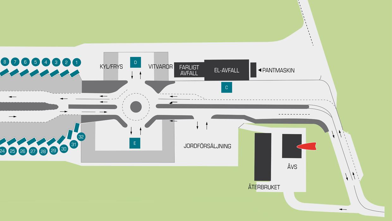 Karta över återvinnigscentralen i Helsingborg