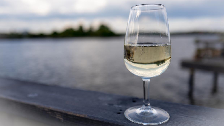 Ett glas vin på brygga